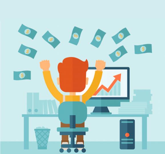 Ilustração de uma pessoa feliz em frente ao computador jogando dinheiro para cima